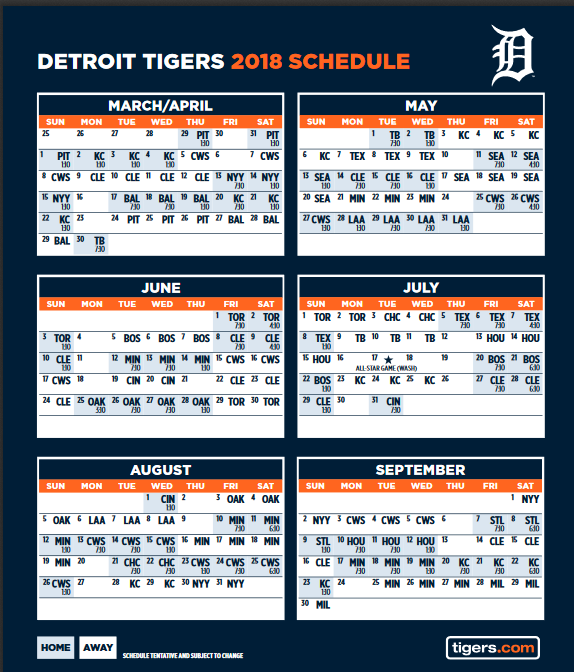 graphic regarding Tigers Printable Schedule named Detroit Tigers - Q100WQONY101WGRYRock RollSports